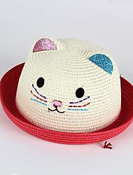 Kids' Sun Hat Kitten Emobroidery Glitter Ear Rhinestong Nose Straw Hat