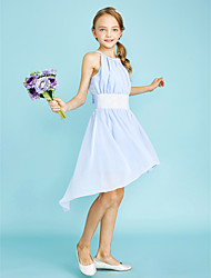 cheap -Sheath / Column Jewel Neck Asymmetrical Chiffon Junior Bridesmaid Dress with Sequin by LAN TING BRIDE® / Natural
