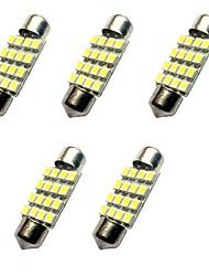 5pcs двойные заостренные света водить 36mm 1.5w 16smd 3528 обломок 80-100lm белый 6500-7000k dc12v читающий свет номерного знака
