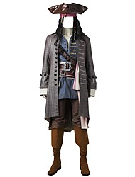cheap -Pirates of the Caribbean Captain Jack Sparrow Cosplay Costume Party Costume Movie Cosplay Coat Vest Shirt Pants Belt Boots More