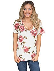 Women's Daily Casual Evening Party Sexy Summer T-shirt,Print U Neck Short Sleeve Polyester Spandex Medium