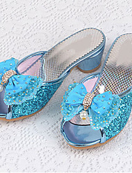 Girls' Flats Comfort Flower Girl Shoes Summer Fall Leatherette Casual Dress Sequin Flat Heel Sliver Blue Blushing Pink Flat