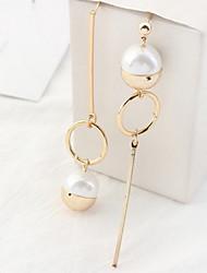 Drop Earrings New Mismatching Asymmetry Earrings Personalized Geometric Shape Pearl Jewelry For Women Daily Party Gift Movie  Jewelry