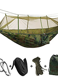 cheap -2 persons Camping Hammock with Mosquito Net Padlock Tie Wrap Rope Bags Moistureproof/Moisture Permeability Well-ventilated Rectangular
