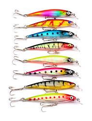 HiUmi Hot Sell 8pcs 3D Minnow Fishing Lures 6# Hook Fishing Bait 8.2cm 7.3g Swimbait