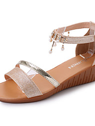 cheap -Women's Sandals Comfort Light Soles Summer PU Walking Shoes Casual Dress Beading Buckle Block Heel Gold Silver 3in-3 3/4in