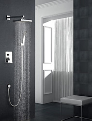 cheap -Modern/Contemporary Wall Mounted Rainfall Wall Mount Ceramic Valve Single Handle Three Holes Chrome, Shower Faucet