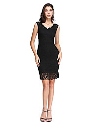 cheap -Sheath / Column V Neck Short / Mini Lace Little Black Dress Cocktail Party / Prom Dress with Lace by TS Couture®