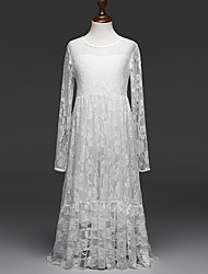 cheap -Girl's Jacquard Dress,Cotton Polyester Summer Long Sleeve Lace White