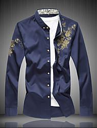 cheap -Men's Plus Size Cotton Shirt - Solid Color, Print