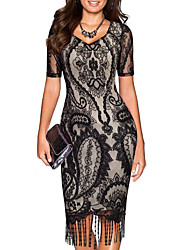 Women's Going out Party Club Sexy Vintage Slim Over Hip Grace Street chic Sheath DressPatchwork Round Neck Mini Sleeveless Spring Summer Mid Rise