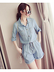 cheap -Women's Daily Casual Solid Color Shirt Collar Rompers,Slim Half Sleeve Summer