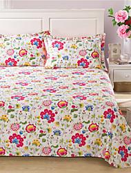 cheap -Duvet Cover Sets Floral 4 Piece Cotton Fibre Reactive Print Cotton Fibre 1pc Duvet Cover 2pcs Shams 1pc Flat Sheet