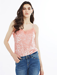 cheap -Women's Going out Cute Tank Top - Solid Colored, Lace V Neck