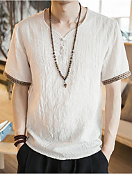 cheap -Men's Going out Casual/Daily Simple Summer T-shirt,Solid Round Neck Short Sleeves Linen Others