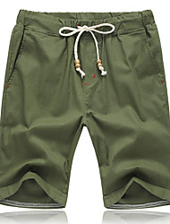 Men's Mid Rise Inelastic Shorts Pants,Active Simple Loose Solid