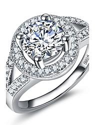 preiswerte -Damen Ring Kubikzirkonia , Klassisch Kreis Elegant Kubikzirkonia Silber Kreisförmig Prinzessin Schmuck Hochzeit Jahrestag Party Party /