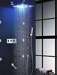 Bathroom Shower Faucet Set / 12 Inch Colorful LED Rainfall Shower Head / Bodysprays And Rotation Spout Included / Hot And Cold Mixer Bath Shower Valve