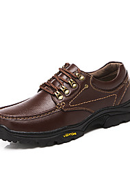 cheap -Men's Oxfords Comfort Light Soles Formal Shoes Fall Winter Cowhide Hiking Shoes Casual Outdoor Office & Career Lace-up Flat Heel Dark