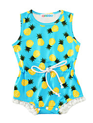 cheap -Baby Kids Print One-Pieces,Cotton Blends Summer Sleeveless Yellow Light Blue