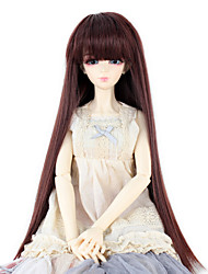 cheap -Synthetic Doll Accessories Long Straight Dark Brown color Hair Neat Straight Bang for 1/3 1/4 Bjd SD DZ MSD Doll Costume Wigs Not for Human Adult