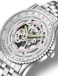 Men's Skeleton Watch Mechanical Watch Japanese Automatic self-winding Noctilucent Alloy Band Silver Brown