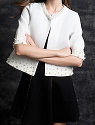 Giubbino Da donna Casual Compleanno Primavera,Tinta unita A V Cotone Standard Ritagliata Pant Oversized