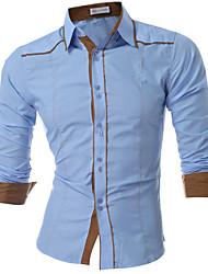 levne -Pánské Jednobarevné Denní Na běžné nošení Košile Jaro Podzim Nylon Košilový límec Dlouhý rukáv