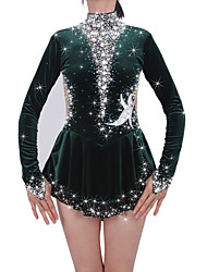 cheap -Figure Skating Dress Women's Girls' Ice Skating Dress black green Spandex Rhinestone High Elasticity Performance Skating Wear Handmade