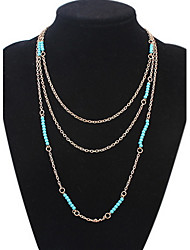 Layered Necklaces Women's Beads Three Ssets of Chain Necklaces Vintage  Rock Euramerican OL Long Necklace Women's Daily Business Movie Jewelry