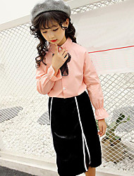 cheap -Girls' Stripe Patchwork Clothing Set, Cotton Polyester Spring Fall Long Sleeves Stripes Lace White Blushing Pink