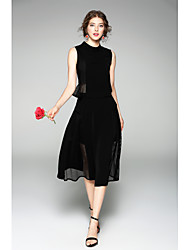 Women's Party Holiday Work Sexy Summer Tank Top Skirt Suits,Solid Round Neck Sleeveless Cut Out Inelastic