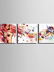 cheap -MINI SIZE E-HOME Abstract Colored Horse Clock in Canvas 3pcs