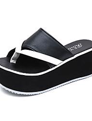 Feminino Chinelos e flip-flops Conforto botas de desleixo Couro Ecológico Verão Casual Caminhada Conforto botas de desleixo Rasteiro