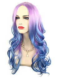 Middle Length Purople Pink Ombre to Bule Sexy Party Club Wig Cosplay Queen's Wig Heat Resistant