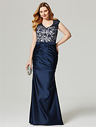 cheap -Sheath / Column V Neck Floor Length Lace Stretch Satin Prom / Formal Evening Dress with Beading Sash / Ribbon Side Draping by TS Couture®
