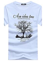 cheap -Men's Cotton T-shirt Print Round Neck