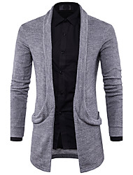 cheap -Men's Daily Casual Regular Cardigan,Solid V Neck Long Sleeves Polyester Spring Fall Thin Micro-elastic