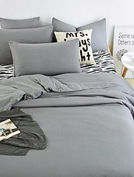 cheap -Solid 4 Piece Cotton Cotton 1pc Duvet Cover 2pcs Shams 1pc Flat Sheet