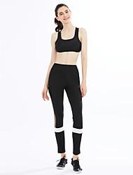 billige -Dame Aktiv Elastisk Skinny Aktiv Bukser, Alm. taljede Polyester Spandex Stribet Alle årstider