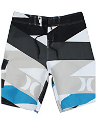 Men's Quick-Drying Breathable Bottoms Prints Beach/Swim Shorts Polyester Summer  Blue