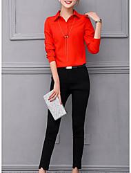 cheap -Women's Fall Shirt Pant Suits Shirt Collar 3/4 Length Sleeve Others Micro-elastic