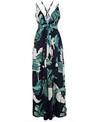 baratos -Mulheres Feriado Boho Bainha Vestido - Frente Única Em Cruz Estampado, Árvores / Folhas Com Alças Cintura Alta Longo Folha tropical