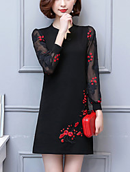 Women's Party Going out Plus Size Vintage Chinoiserie Loose Dress,Patchwork Embroidered V Neck Above Knee Long Sleeves Cotton Polyester