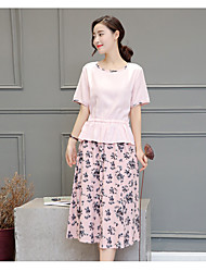 cheap -Women's Daily Soak Off Summer Blouse Skirt Suits,Floral Print Round Neck Short Sleeve Corduroy