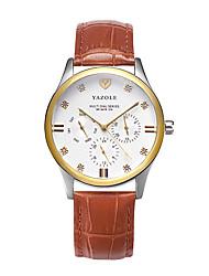cheap -Men's Wrist Watch Casual Watch Leather Band Casual / Fashion / Dress Watch Brown / Khaki