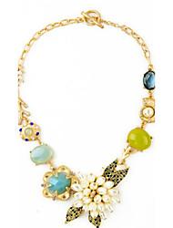 Per donna Collane Statement Sapphire sintetico A forma di fiore Lega Originale Floreale Fiori Fantasia floreale Gioielli Per Compleanno
