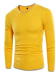 Недорогие -Муж. Классический и неустаревающий Длинный рукав Пуловер - Однотонный, Чистый цвет V-образный вырез