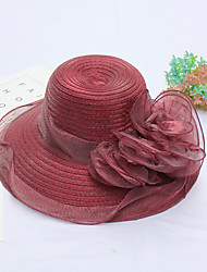 Women's Organza Bucket Hat Floppy Hat,Hat Flower Solid Spring/Fall Summer Mixed Color