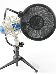 Professional Sound Studio Recording Condenser Microphone with 3.5mm Plug Metal Stand Holder and Pop Filter